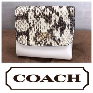 Coach Small Zoe Wallet White Leather Exotic Snake
